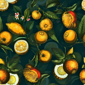 "18"" Delicious Vintage Citrus Fruit Pattern Teal"