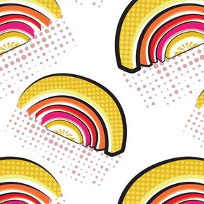 Normal scale // Pop art citrus rainbows // white background yellow orange red and fuchsia pink fruits peel pink dots