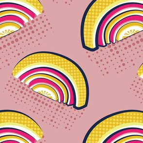 Normal scale // Pop art citrus rainbows // blush pink background yellow and fuchsia pink fruits peel pink dots