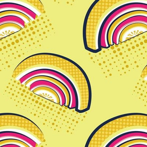 Normal scale // Pop art citrus rainbows // yellow lime background yellow and fuchsia pink fruits peel yellow dots