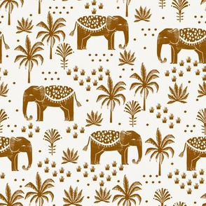 SMALL elephant house - nursery fabric, nursery wallpaper, ginger, earth toned, earth palette - giner