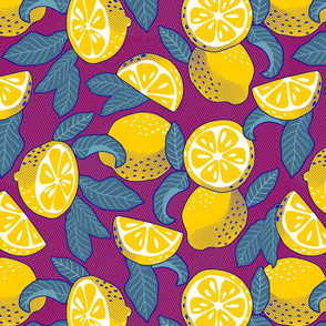 Lemons Pop Art - violet