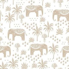elephant boho fabric - elephant wallpaper, elephant nursery, elephant indie design - tan