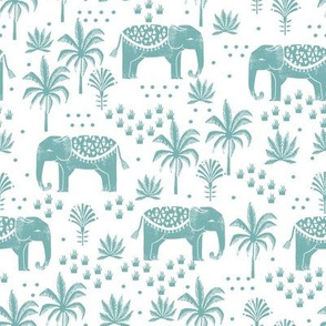 elephant boho fabric - elephant wallpaper, elephant nursery, elephant indie design - blue