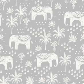elephant boho fabric - elephant wallpaper, elephant nursery, elephant indie design - grey