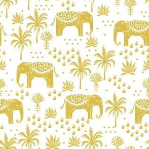 elephant boho fabric - elephant wallpaper, elephant nursery, elephant indie design - mustard 2