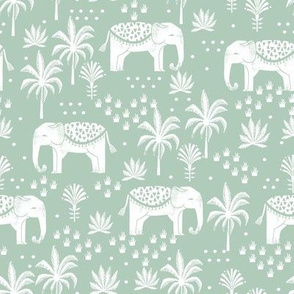 elephant boho fabric - elephant wallpaper, elephant nursery, elephant indie design - mint