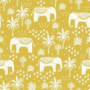 elephant boho fabric - elephant wallpaper, elephant nursery, elephant indie design - mustard