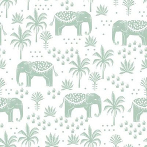 elephant boho fabric - elephant wallpaper, elephant nursery, elephant indie design -mint