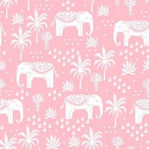 elephant boho fabric - elephant wallpaper, elephant nursery, elephant indie design - pink 2