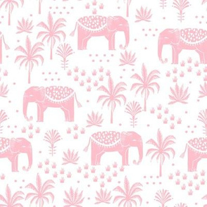 elephant boho fabric - elephant wallpaper, elephant nursery, elephant indie design - pink