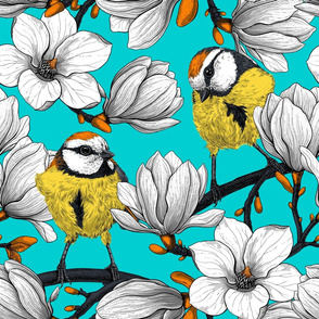 White magnolia and tit birds