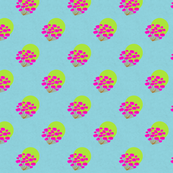 flower-circles-green-on-blue-repeated