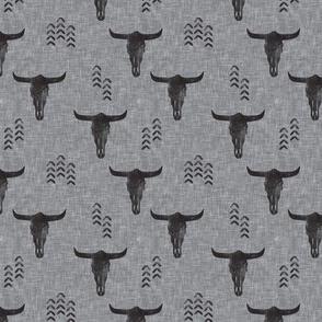 (small scale) desert skulls - boho - southwest cow skull - grey on grey - LAD19BS