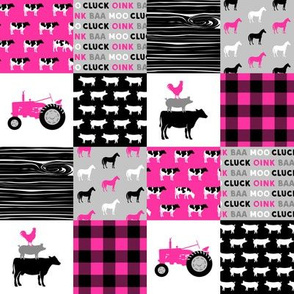 """(2"""" scale) farm patchwork fabric - bright pink and black C19BS"""