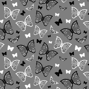 Butterfly Migration... #1 greyscale, B/W, silver grey, large