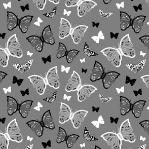 Butterfly Migration... #2 greyscale, B/W, silver grey, large