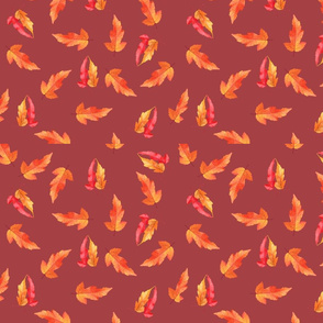 Yellow orange and red leaves red background