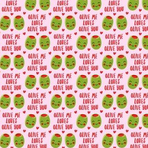 (small scale) olive me loves olive you - cute Valentine's Day love olives - pink - LAD19BS