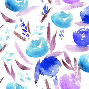 Watercolor lovely roses in blue ♥ painted flowers for modern home decor, nursery
