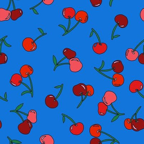 cherry fabric - cherries fabric, fruits fabric, bright vintage style fabric - blue