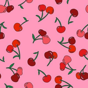 cherry fabric - cherries fabric, fruits fabric, bright vintage style fabric -  pink