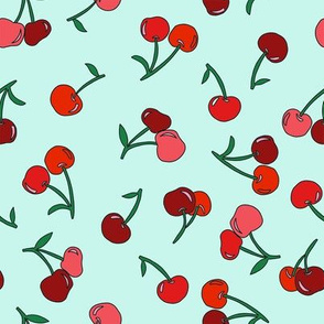 cherry fabric - cherries fabric, fruits fabric, bright vintage style fabric - mint