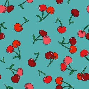 cherry fabric - cherries fabric, fruits fabric, bright vintage style fabric - aqua