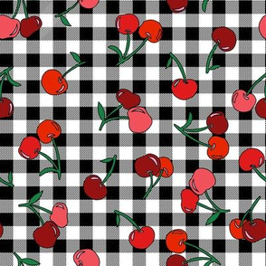 cherry fabric - cherries fabric, fruits fabric, bright vintage style fabric - black gingham