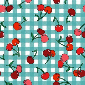 cherry fabric - cherries fabric, fruits fabric, bright vintage style fabric - teal gingham