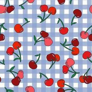 cherry fabric - cherries fabric, fruits fabric, bright vintage style fabric - periwinkle