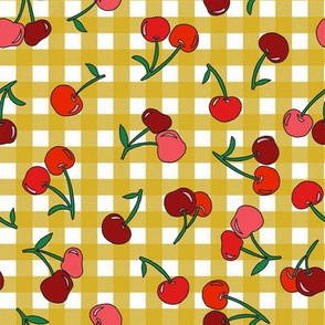 cherry fabric - cherries fabric, fruits fabric, bright vintage style fabric - mustard