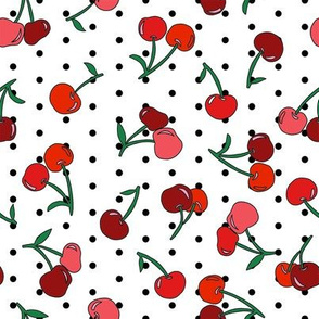 cherry fabric - cherries fabric, fruits fabric, bright vintage style fabric - black dots