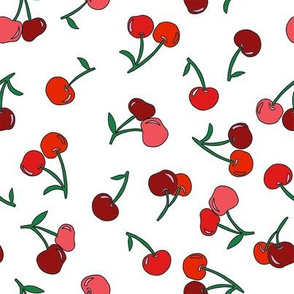 cherry fabric - cherries fabric, fruits fabric, bright vintage style fabric - white