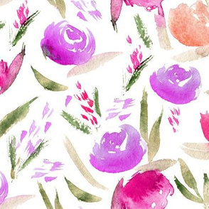 Watercolor lovely roses in pink and violet ♥ painted flowers