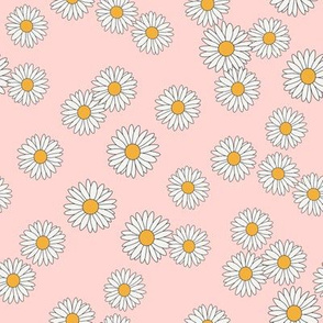 daisy fabric - daisy pattern, dainty fabric, dainty florals, feminine fabric, floral, spring floral - pastel pink