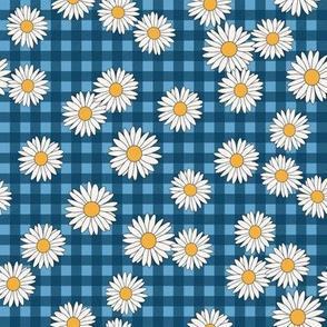 daisy fabric - daisy pattern, dainty fabric, dainty florals, feminine fabric, floral, spring floral -  blue plaid