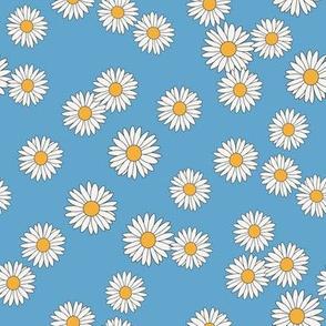 daisy fabric - daisy pattern, dainty fabric, dainty florals, feminine fabric, floral, spring floral - blue