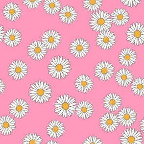 daisy fabric - daisy pattern, dainty fabric, dainty florals, feminine fabric, floral, spring floral - pink