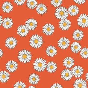 daisy fabric - daisy pattern, dainty fabric, dainty florals, feminine fabric, floral, spring floral - orange