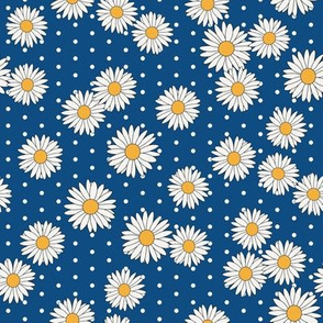 daisy fabric - daisy pattern, dainty fabric, dainty florals, feminine fabric, floral, spring floral - classic blue dots