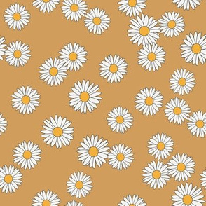 daisy fabric - daisy pattern, dainty fabric, dainty florals, feminine fabric, floral, spring floral - mustard