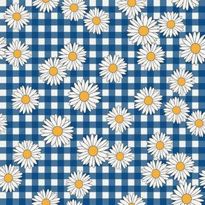 daisy fabric - daisy pattern, dainty fabric, dainty florals, feminine fabric, floral, spring floral - classic blue gingham