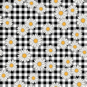 daisy fabric - daisy pattern, dainty fabric, dainty florals, feminine fabric, floral, spring floral - black gingham