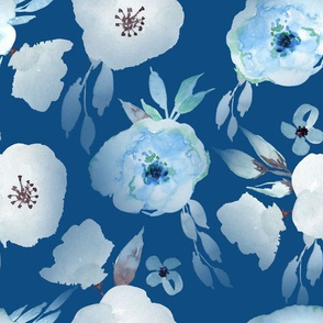 "10"" Hand drawn watercolor florals on classic blue - trend 2020"