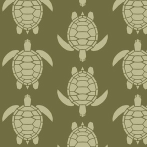 Three Inch Back to Nature Green Turtles on Dark Back to Nature Green