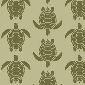 Three Inch Dark Back to Nature Green Turtles on Back to Nature Green