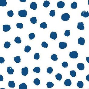 classic blue dots - large dots, painted spots - classic blue 2020, pantone color of the year fabric, classic blue fabric - white