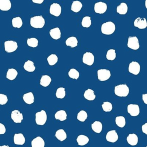classic blue dots - large dots, painted spots - classic blue 2020, pantone color of the year fabric, classic blue fabric - blue