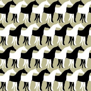 Two Inch Black and White Overlapping Horses on Back to Nature Green
